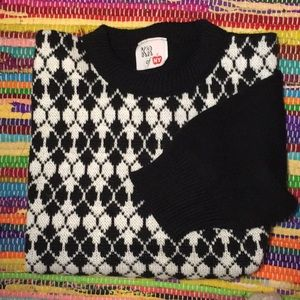Vintage 80s Argyle Harlequin Check Sweater S